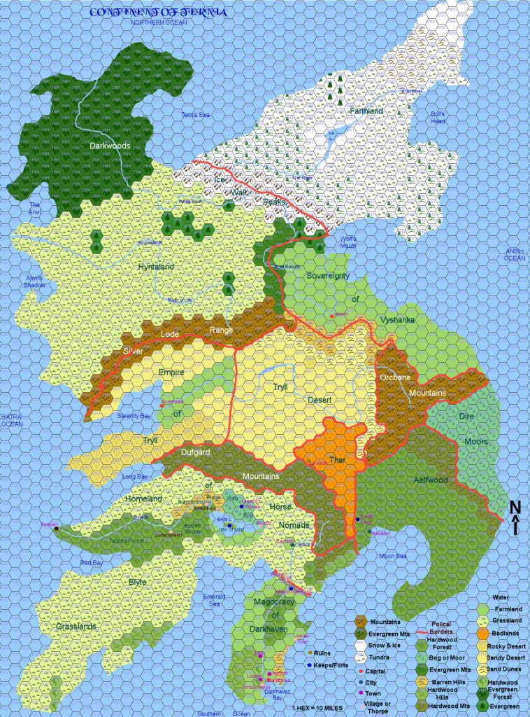 Continent of Ternia from the world of Gaela by Roxanne Johnson