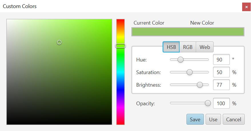Custom color picker dialog.