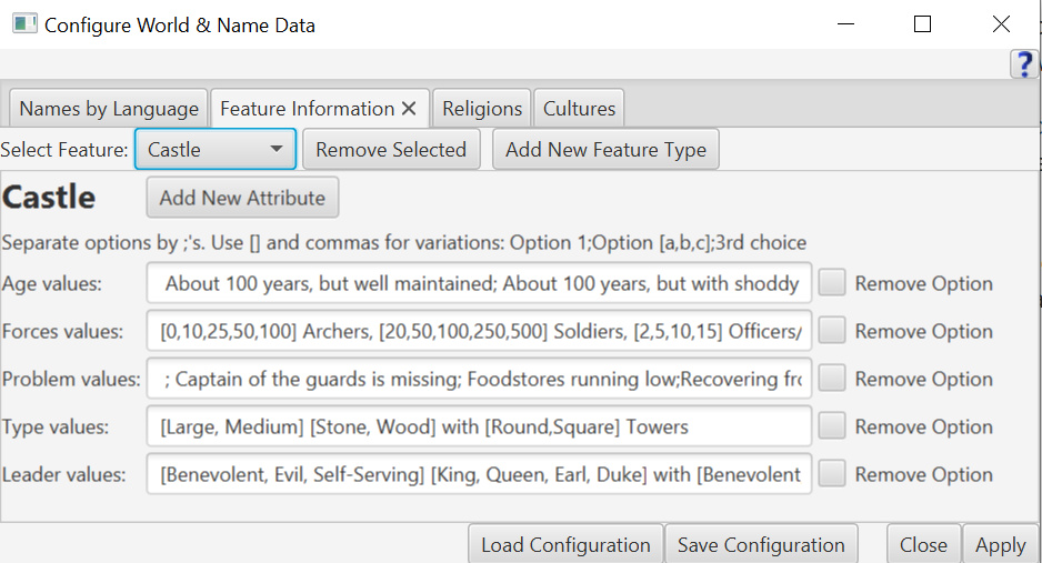 Configure World & Name Data: Feature Information Tab.
