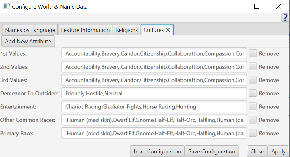 Configure World & Name Data Cultures tab.