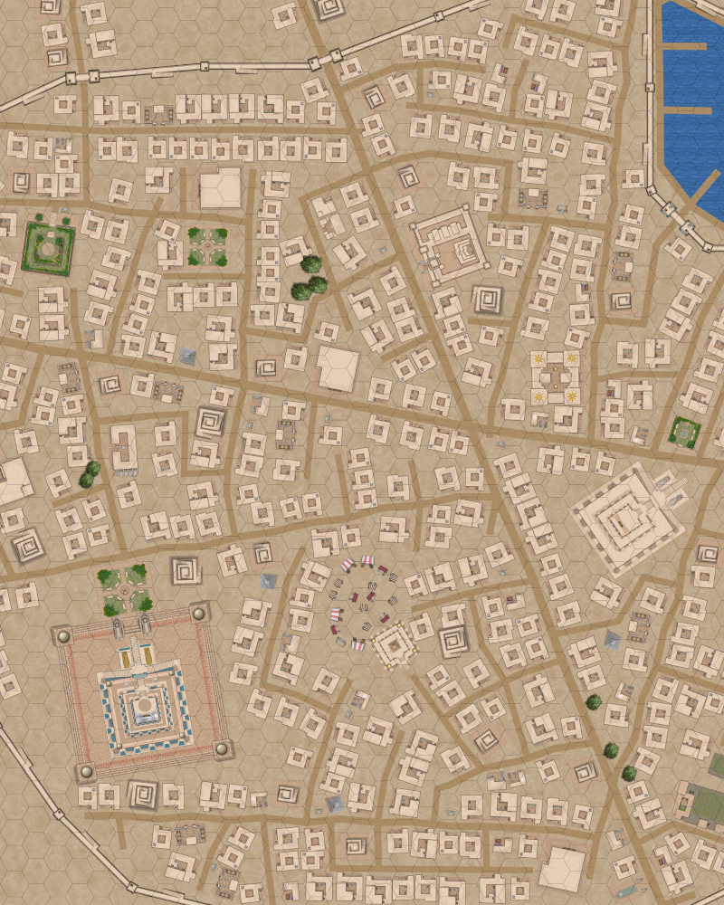 Mesopotamia Style City Section (Uses our July 2020 Patreon Icons now on DriveThruRPG)